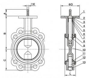 Дисковый затвор с электроприводом Machaon BFV-03/W с электроприводом 220 В / 380 В