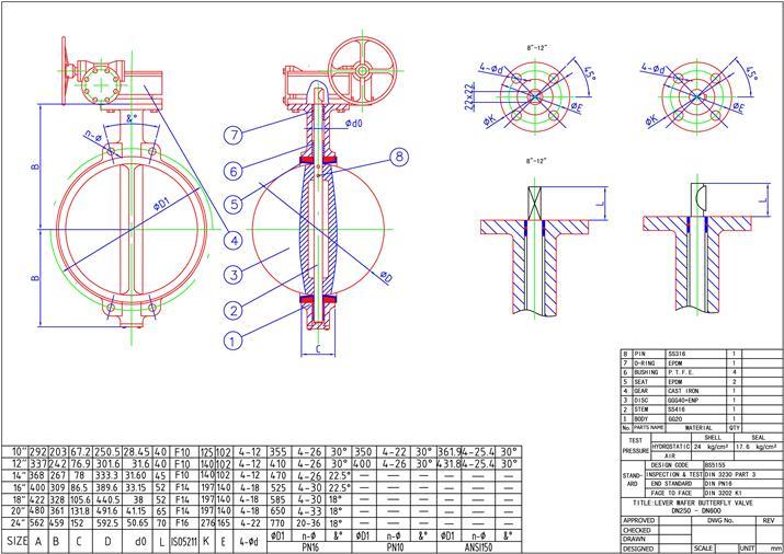 Затвор дисковый поворотный чугунный межфланцевый «VITECH» с редуктором