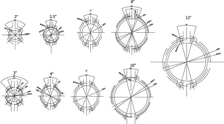 Схема затворов дисковых межфланцевых «VITECH» с редуктором  Ду 600 - 1200